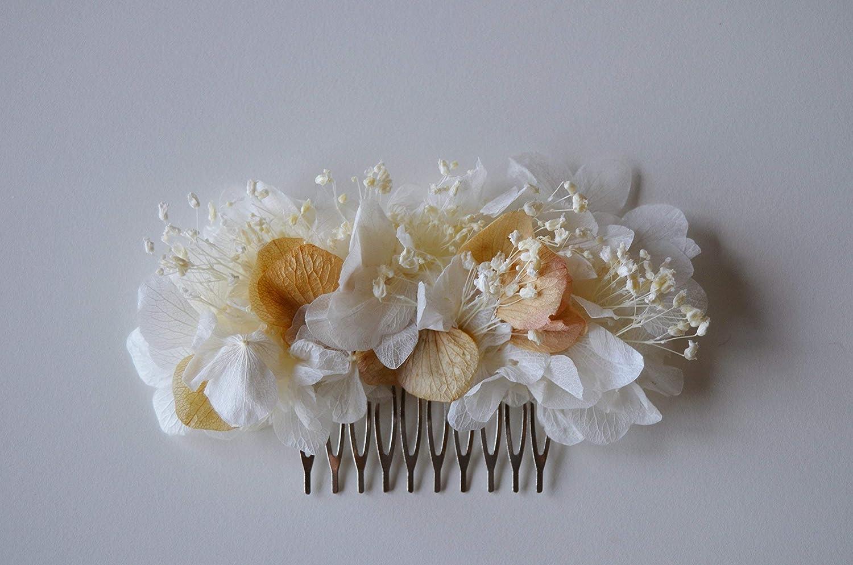 Tocado flores preservadas novia