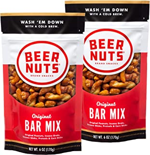 product image for BEER NUTS Original Bar Mix - 6oz Resealable Bag, , Pretzels, Cheese Sticks, Sesame Sticks, Roasted Corn Nuts, and Original Peanuts (2-Pack)