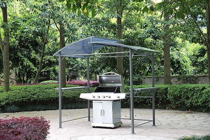 Tendone in Alluminio con Cappa Aspirante Angel Living Gazebo Barbecue in Alluminio e Acciaio con Tetto in PC 245x150 cm Gazebo per Barbecue con Gazebo con Area di Stoccaggio