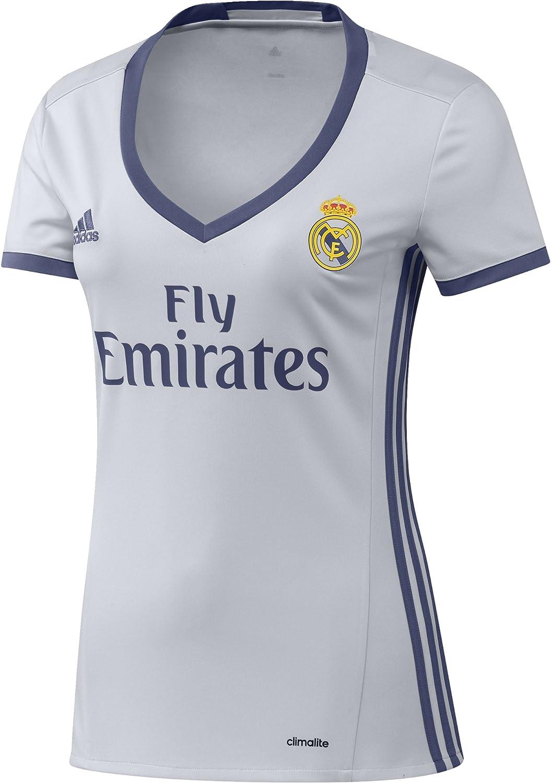 adidas H JSY W Camiseta 1ª Equipación del Real Madrid CF 2015/16, Mujer, Blanco/Morado, L: Amazon.es: Ropa y accesorios