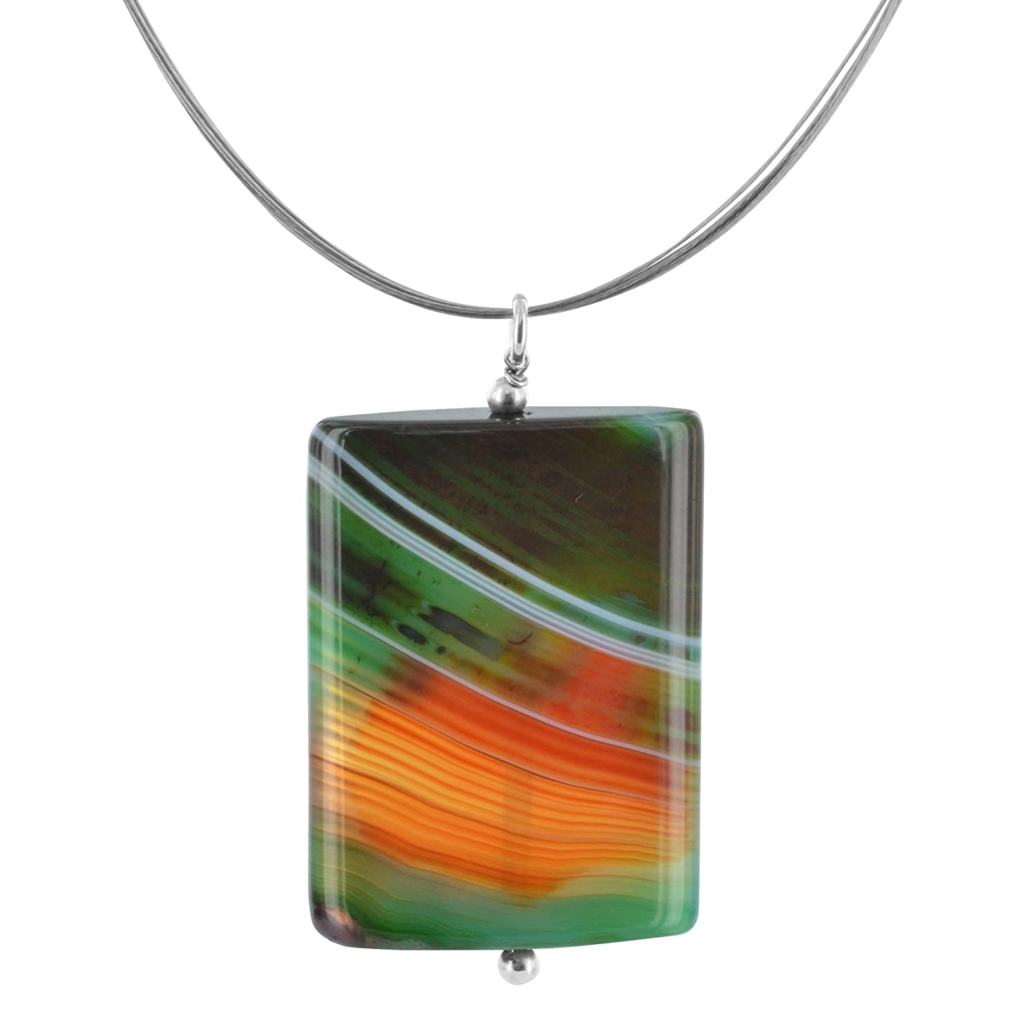 Sardonyx Sterling Silver and Stainless Steel Handcrafted 18 Inch Necklace by ASHANTI