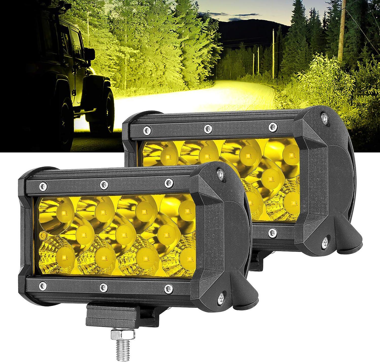 """OFFROADTOWN 5/"""" 132W Triple Row Yellow LED Fog Light Off Road Driving Light Amber LED Work Light Spot Flood Combo Beam LED Light Bar Waterproof for Truck ATV UTV SUV Marine Front Bumper LED Pods"""