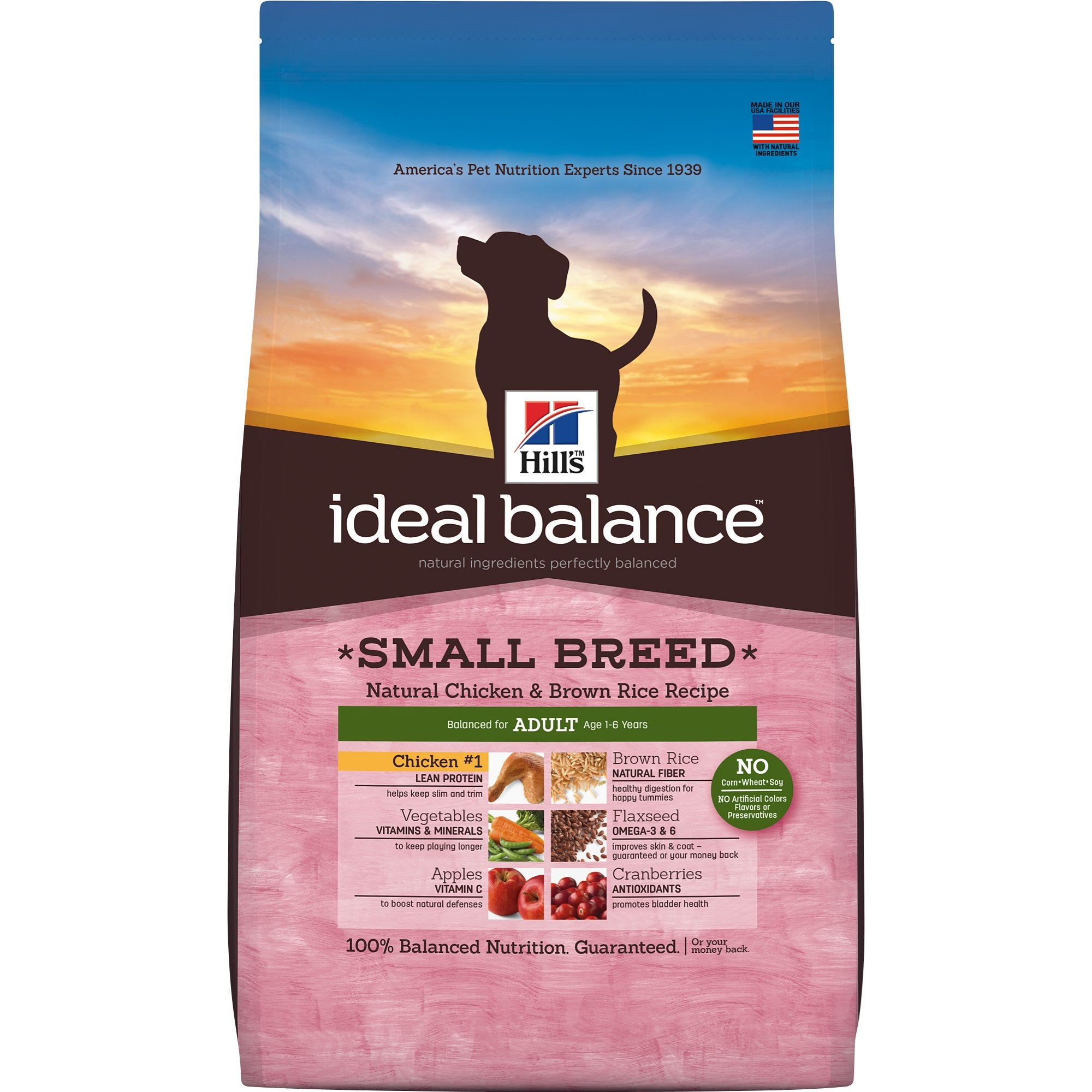 Hill's Ideal Balance Adult Natural Dog Food, Small Breed Chicken & Brown Rice Recipe Dry Dog Food, 4 lb Bag