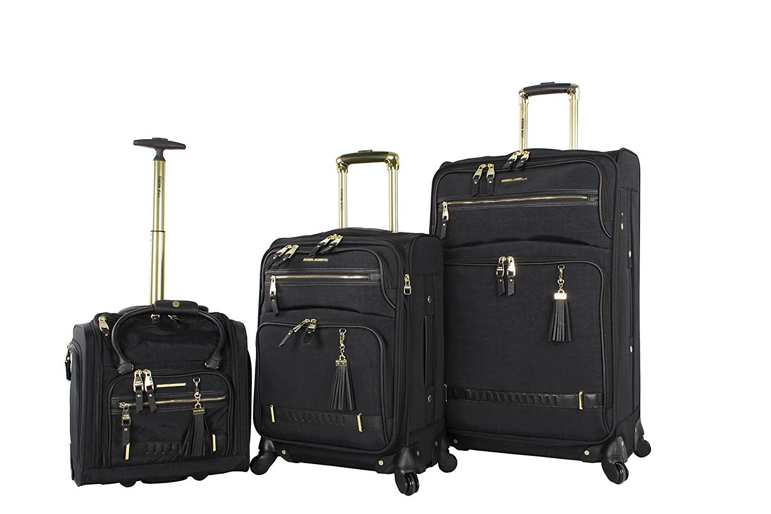 "Steve Madden Luggage 3 Piece Softside Spinner Suitcase Set Collection (20""/28""/Under Seat Bag) (Peek-A-Boo Black)"