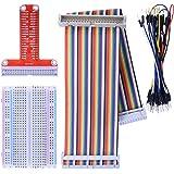 Kuman Raspberry Piに適用キット 400MB-102はんだなしブレッドボード+GPIO T型拡張ボード+2in1虹リボンケーブル+35*ジャンパケーブルワイヤ ラズベリーパイ Raspberry Pi 3 / Zero/ zero W/ 2 / B+ / A+ K80