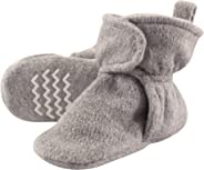 Hudson Baby Unisex Baby Cozy Fleece Booties, Heather Gray, 0-6 Months