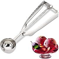 Relaxdays 10023857 Eisportionierer Edelstahl, mit Auslöser, für EIS, Obst, Keksteig, Eiskugel ∅ 39 mm, Ice Cream Scoop, Silber