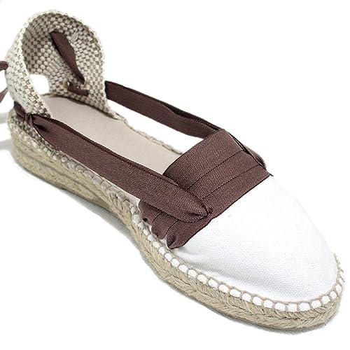 Espardenya.cat Alpargatas Hechas a Mano Tradicionales de Media Cuña Diseño Tres Vetas Color Marrón Oscuro: Amazon.es: Zapatos y complementos