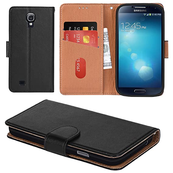 free shipping 20779 c301e Galaxy S4 Case, Aicoco Flip Cover Leather, Phone Wallet Case for Samsung  Galaxy S4 - Black