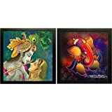 SAF 'Radha Krishna' Wall Painting (Synthetic, 30 cm x 30 cm x 2 cm) & 'Ganesha' Painting (Wood, 12 inch x 12 inch, Special Effect Textured, SAO97) Combo