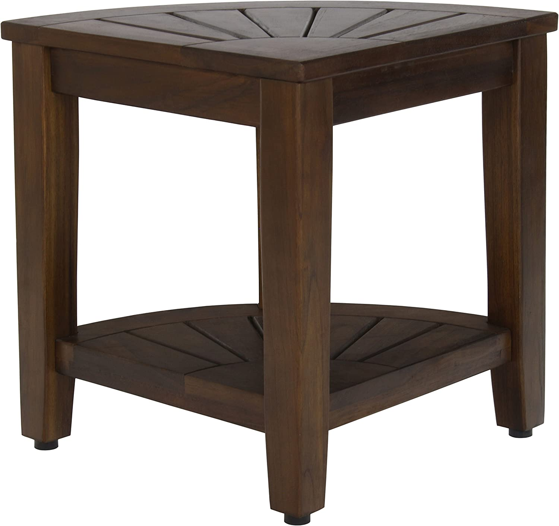 Amazoncom 155 Kai Corner Walnut Color Teak Shower Bench With