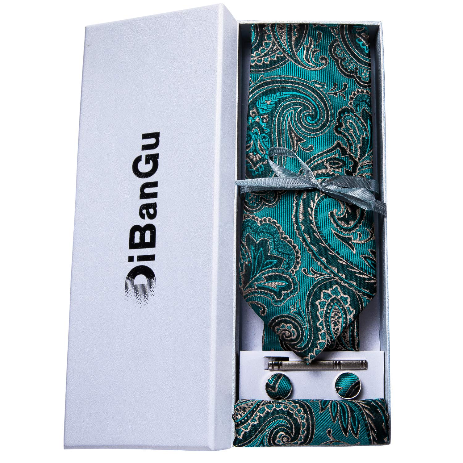 DiBanGu Paisley Tie and Pocket Square Mens Woven Necktie Silk Handkerchief and Cufflink Set