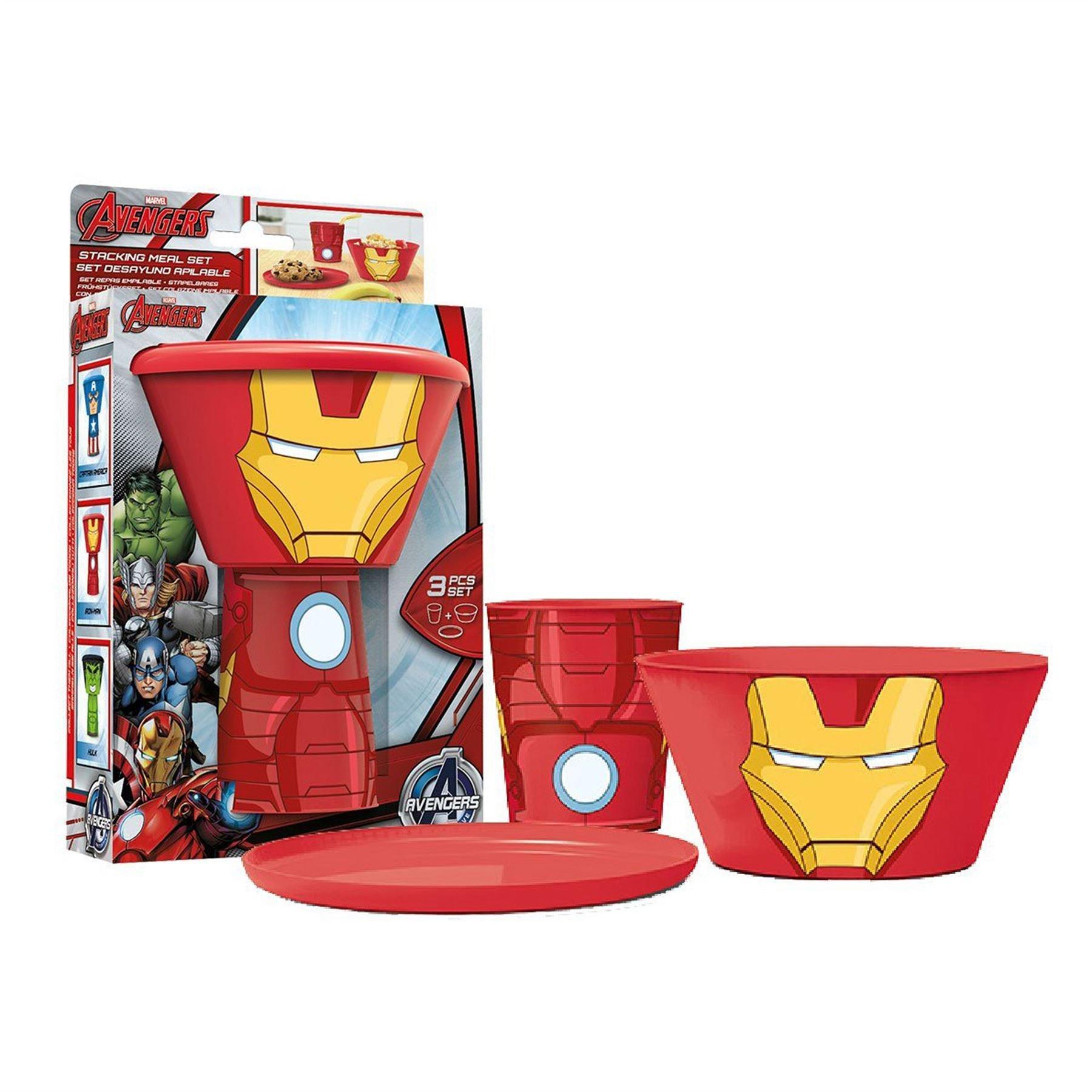 Marvel® Avengers Iron Man 3PC Stacking Meal Set: Plate, Bowl & Tumbler