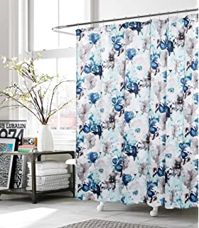 kensie halle blue gray floral watercolor modern art fabric shower curtain