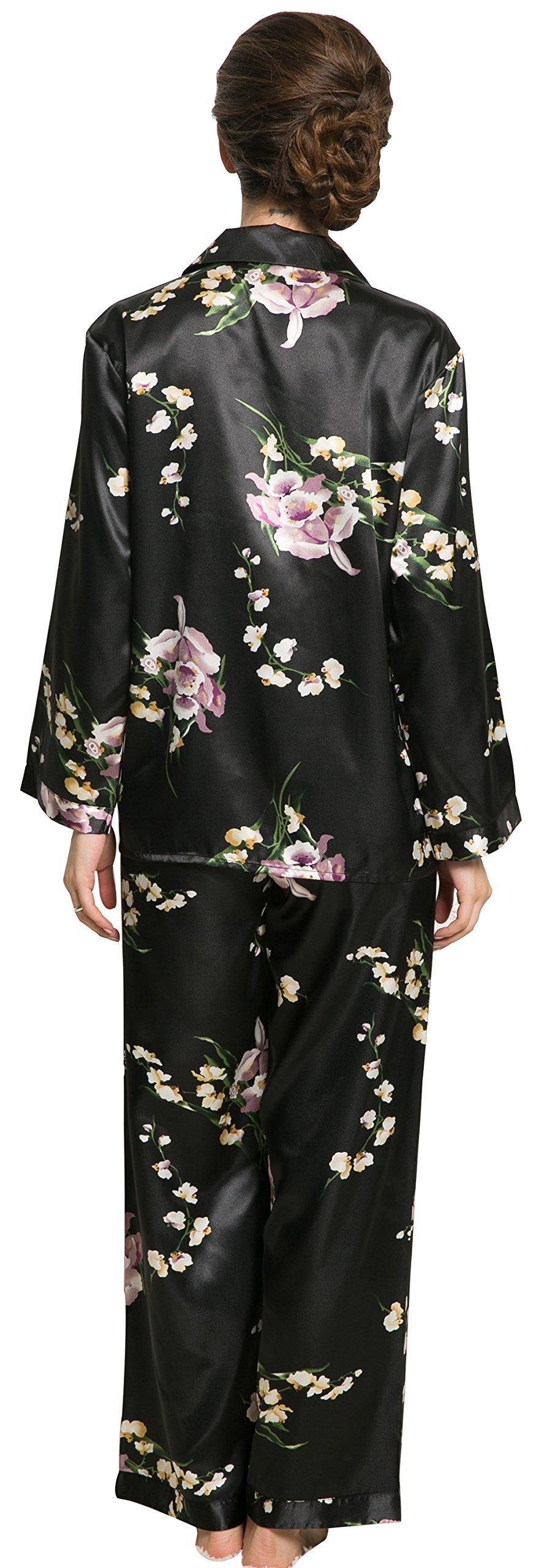 Lavenderi Women'S Long Sleeve Premium Satin Pajama Set -