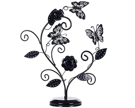 Amazoncom Decorative Black Finish Metal Butterfly Flower Design