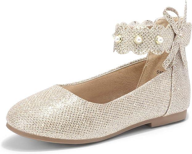 Elgant Glitter Girl/'s Shoes Ruffles T-Strap Sandal Toddler Little Kid/'s size