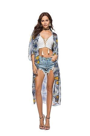 24078d82c4 Yiyada Women Sexy Chiffon Beachwear Beach Dress Swimsuit Swimwear Swimming  Pool Bikini Long Kimono Stylish Cover up (Blue): Amazon.co.uk: Clothing