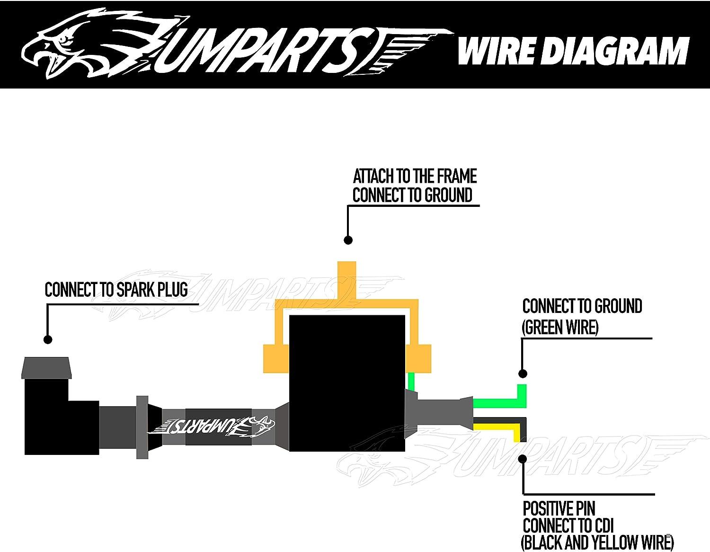 ATA125A1 ATA 125 A1 UMPARTS 2 wire pin Black ignition coil Spark ...