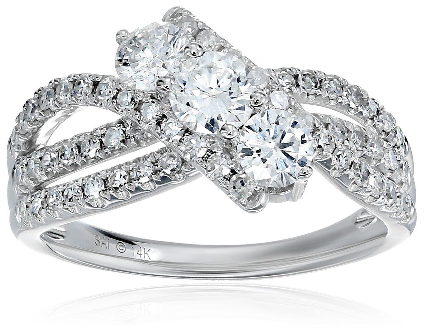 14k White Gold Diamond 3-Stone Twisted Engagement Ring (1 1/4cttw, H-I Color, I1-I2 Clarity), Size 7