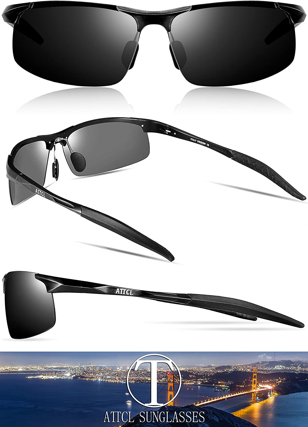 29a66a15c3 ATTCL Men s Driving Polarized Sunglasses Unbreakable Metal Frame 8177  black  Amazon.ca  Clothing   Accessories