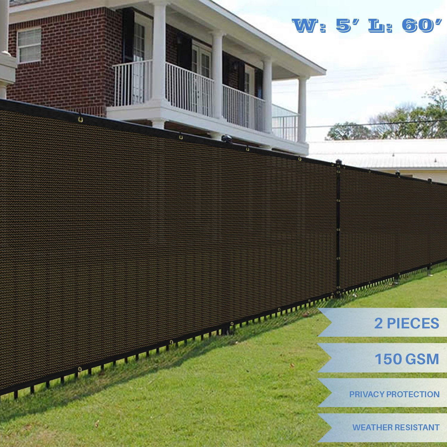 E&K Sunrise 5' x 60' Brown Fence Privacy Screen, Commercial Outdoor Backyard Shade Windscreen Mesh Fabric 3 Years Warranty (Customized Sizes Available) - Set of 2 by E&K Sunrise