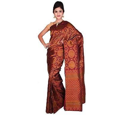8e4807d2e68bb8 Vallalar Silks Silk Saree With Blouse Piece (Oil Maroon Free Size ...