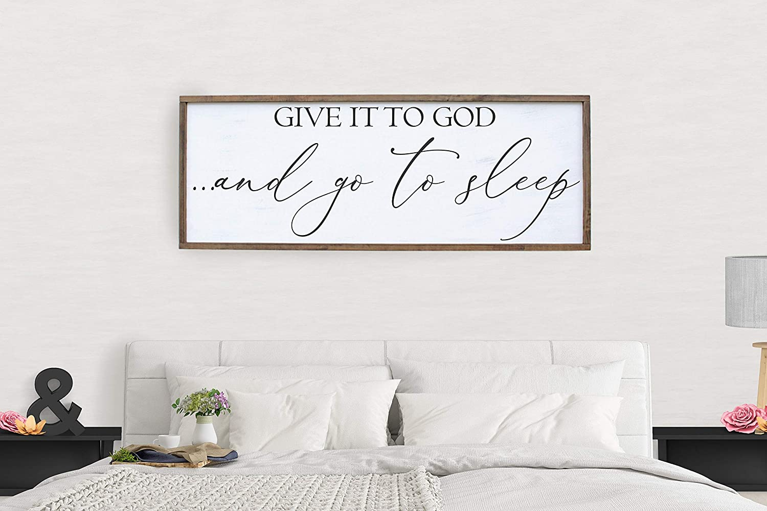Wood Framed Sign 12x22'' Bible Verse Printable Wooden Prints Give It To God And Go To Sleep Sign Over The Bed Wall Art Farmhouse Decor Sign Bedroom Decor Above The Bed Wood Saying Large Framed