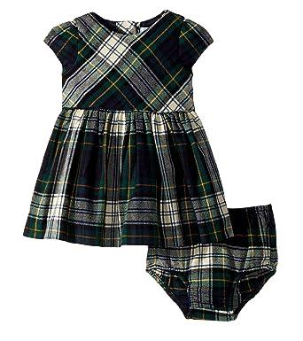 a84bdeec3 RALPH LAUREN Baby Girls Plaid Tartan Fit and Flare Flannel Dress   Bloomer  Set (9