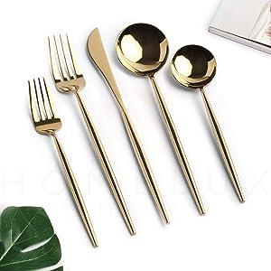 Homelux Theory 18/10 Gold Stainless Steel Flatware Silverware Cutlery Set | 10-piece Adaline Royal Modern Kitchen Utensils | BEST Birthday Wedding Gift | (2 sets, Gold mirror polish)