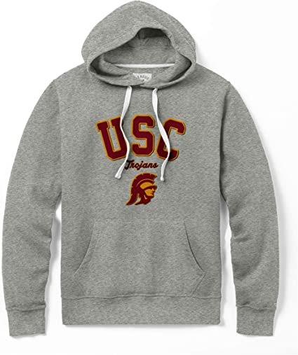 Athletic Gray NCAA USC Trojans University of Southern California Hall of Fame Raw Edge Pullover X-Large