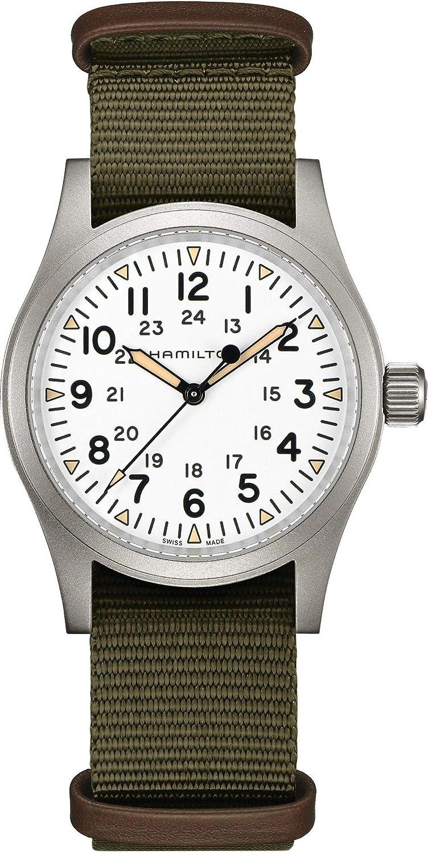 Reloj Hamilton Khaki Field Mecánico Esfera Blanca Correa NATO H69439411
