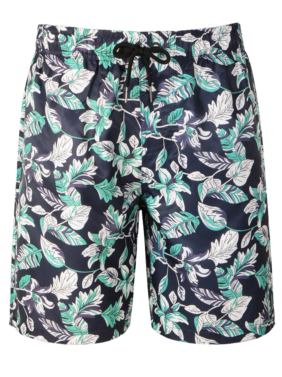 Hopioneer Men's Swim Trunks Quick Dry Board Shorts Tropical Leaves Printed with Mesh Lining