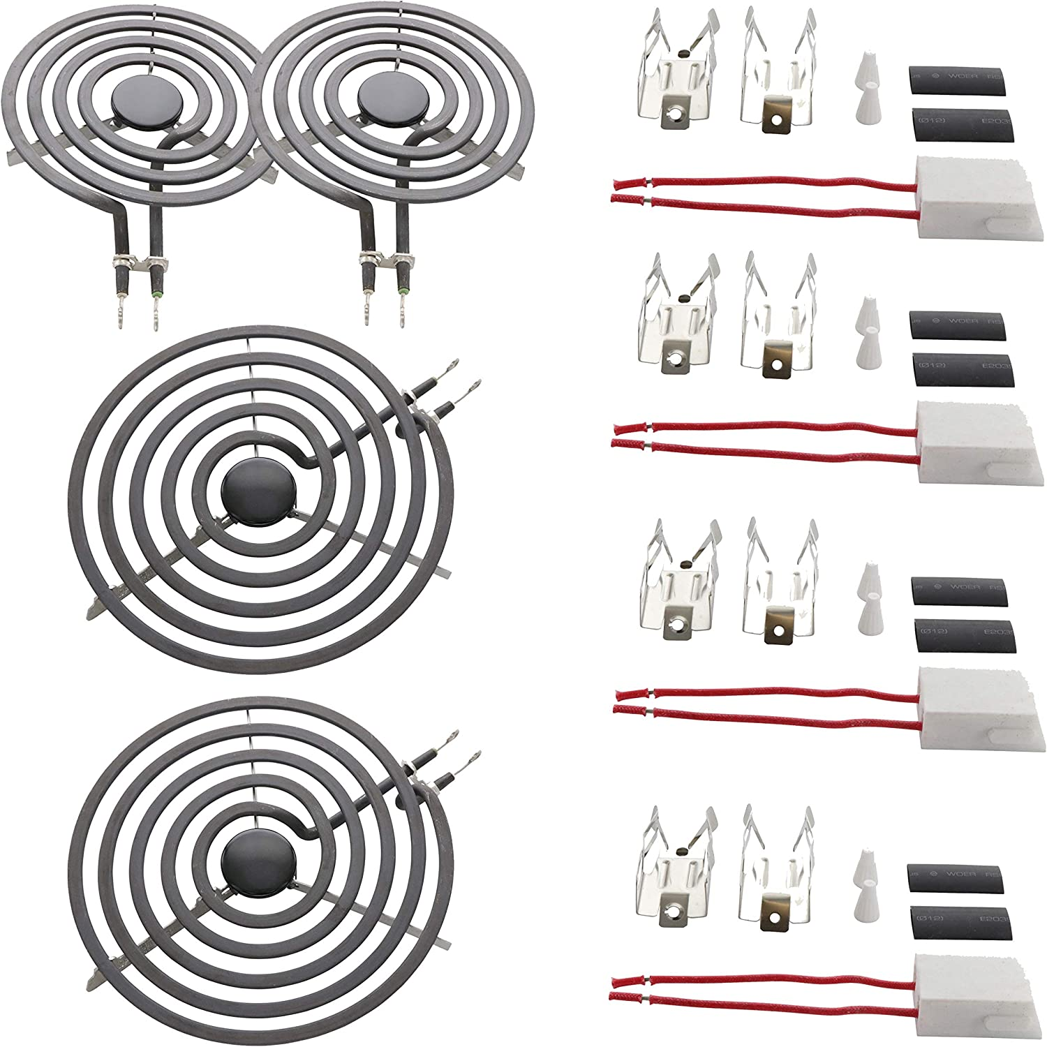 "Kitchen Basics 101 MP22YA Electric Range Surface Burner Coil Set (2-MP15YA 6"" & 2-MP21YA 8"") with 4 High Temperature Ceramic Plug-In Terminal Block Kit Replacement for Whirlpool, KitchenAid, Maytag"