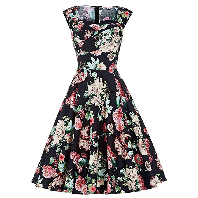 50s Vintage Audrey Hepburn Rockabilly Vestidos Big Size Womens Clothes Summer Retro Dress at Amazon Womens Clothing store: