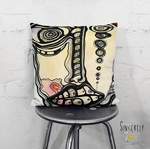 Amazon.com: Psychedelic faces art throw pillow. Unique funky unusual ...