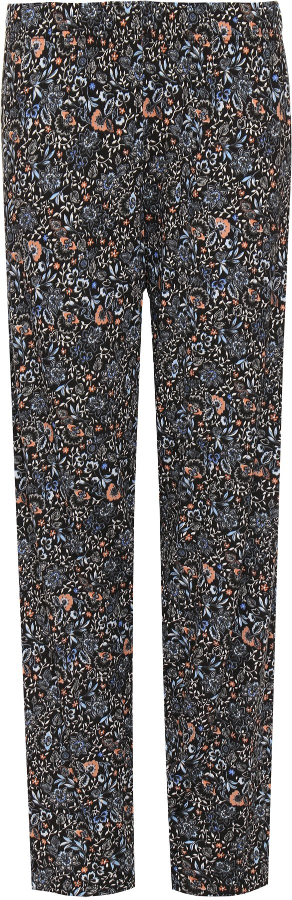 Wearall Women's Plus Floral Stretch Trousers - Black Blue - US 12 (UK 16)