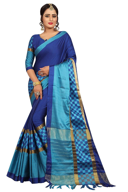PerfectBlue Cotton Saree with Blouse Piece