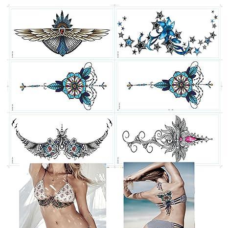 globalwells 6pieza moda impermeable esternón – Adhesivo decorativo para pegatinas, Tatuajes temporales (Set C. Pasa ...