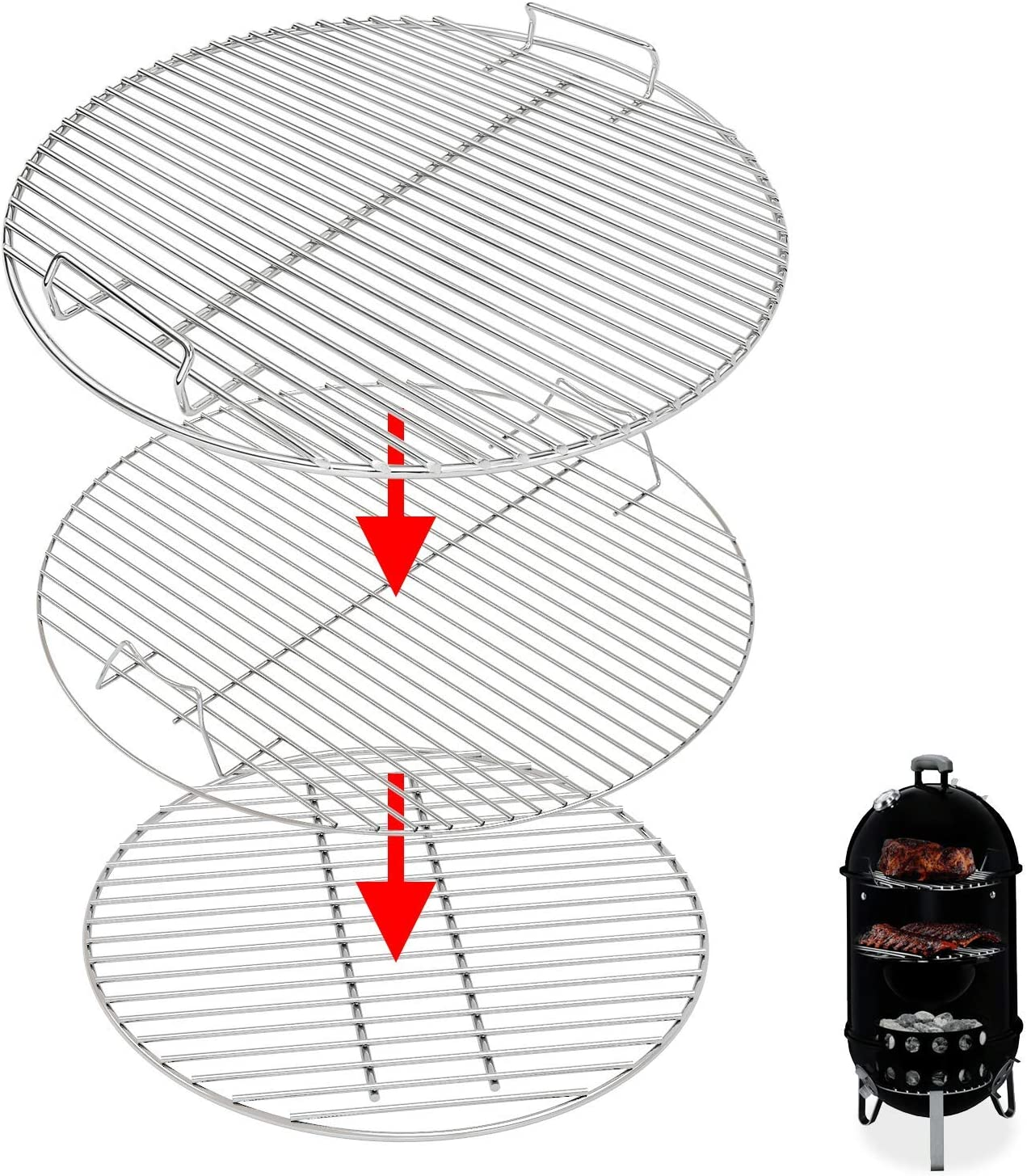 Uniflasy 7432 Upper Cooking Grate 85042 Lower Grate 63013 Charcoal Grates for Weber Charcoal Grill 18/18.5 Inch Smokey Mountain Cooker, 2 Cooking Grate and 1 Charcoal Grate 3 Pack