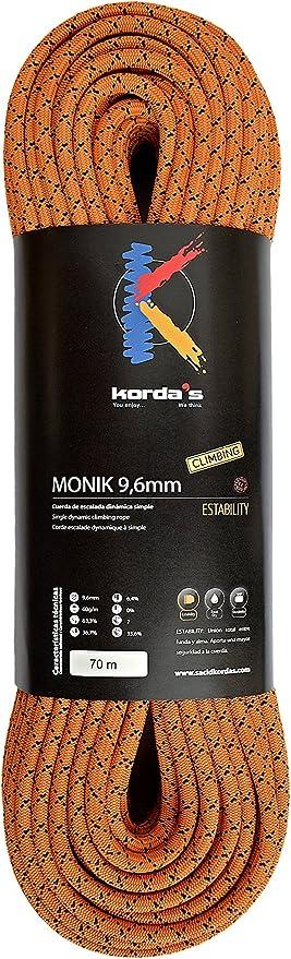 Kordas Monik 9.6 Cuerda de Escalada, Naranja, 70 m: Amazon ...
