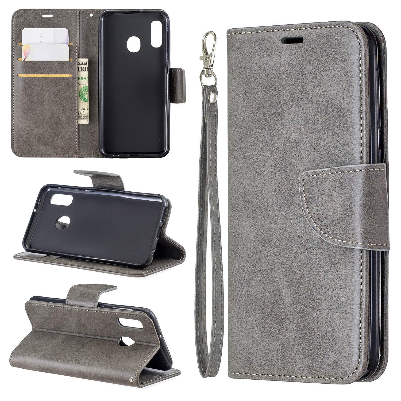 Custodia Portafoglio in Pelle Porta Carte Funzione di Stand Antiurto Wallet Case Flip Cover per Samsung Galaxy A20E Docrax Galaxy A20E Leather Cover DOBFE150108 Marrone