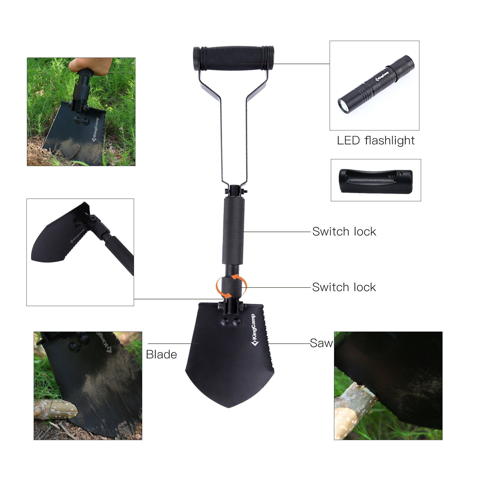 KingCamp Military Portable Folding Shovel and Pickax, Compact Multifunctional Entrenching Tool with Nylon Carry Case for Hiking, Hunting, Fishing, Gardening, Camping, Backpacking, Emergencies