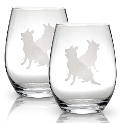 dfee86a8980 Amazon.com | German Shepherd Stemless Wine Glasses (Set of 2) | Unique Gift  for Dog Lovers | Hand Etched with Breed Name on Bottom: Wine Glasses