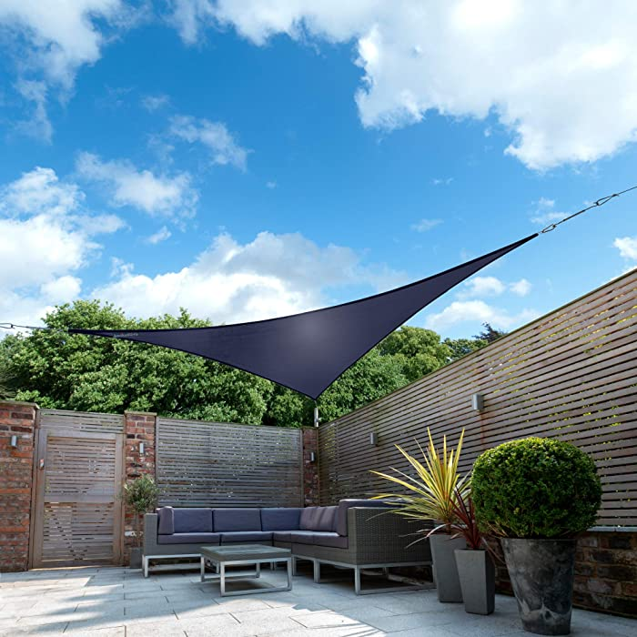 "Kookaburra Waterproof Blue Sun Shade Sail Garden Patio Gazebo Awning Canopy 98% UV Block with Free Rope (16ft 5"" Triangle)"