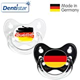 Dentistar® Silikon Schnuller 2er Set inkl. 2 Schutzkappen - Nuckel Größe 2, 6-14 Monate – Fahnen Fan Kollektion   WM Kombi Edition