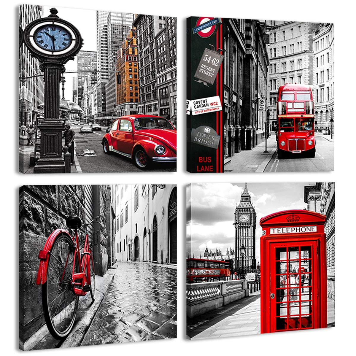 Amosi Art - Canvas Print Wall Art Painting 4 Panels London Street Scene Classical Red London Bus,Bridge and Tower City Painting Modern Art Picture Stretched by Framed Ready to Hang for Living Room Home Decoration (Black, 12x12inchx4pcs) Art0195