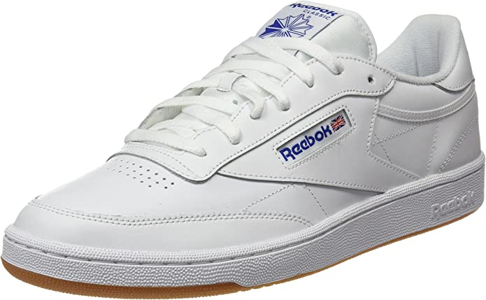 Reebok Club C 85 Sneakers Fitnessschuhe Herren Weiß mit blauer Schrift