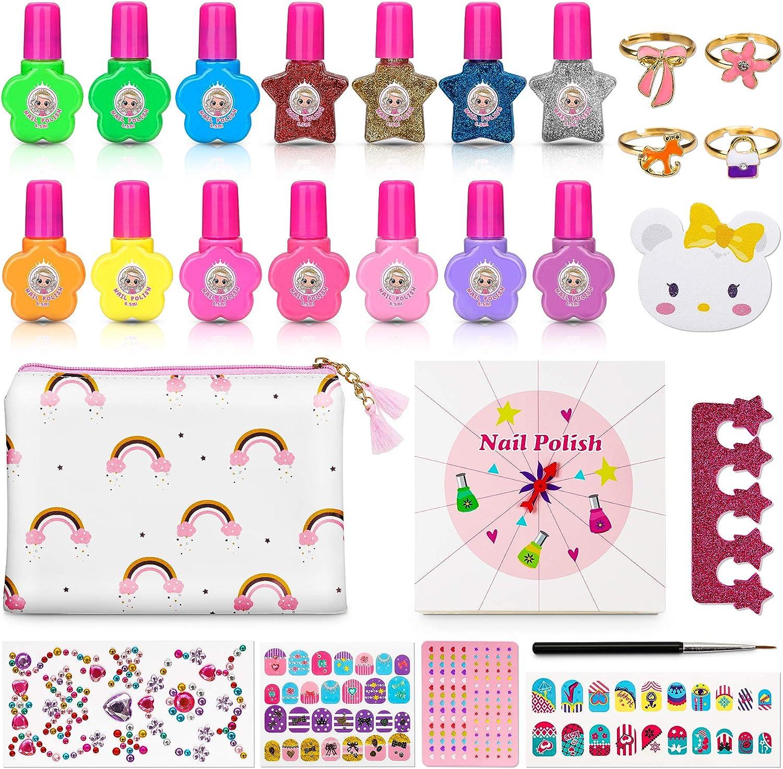 4 Colores Brillantes Maquillaje Ni/ña Regalo para Navidad//Cumplea/ños Pintau/ña para Ni/ña Jojoin 27 Pcs Set de Esmalte de U/ña Infantil Conjunto de 14 Esmaltes de Color Permanente y M/ás Accesorios