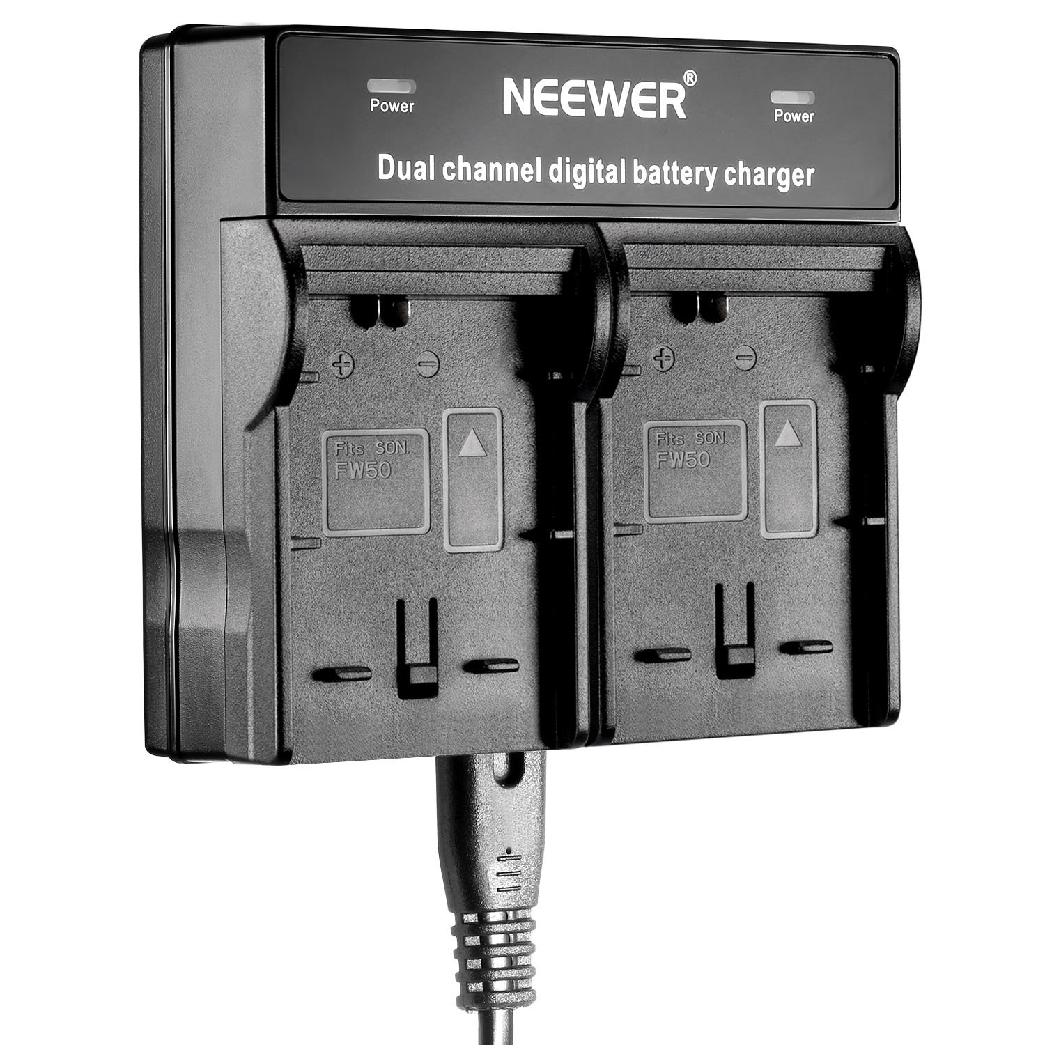 Neewer® Dual-Channel Battery Charger for Sony NP-FW50 Batteries Compatible With Sony NEX-3 NEX-5 NEX-6 NEX-7 NEX-C3 NEX-F3 SLT-A33 SLT-A37 SLT-A55 A3000 A3500 A5000 A5100 A6000 A7 A7R A7S A7 II 10086250